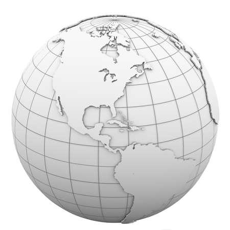 White globe  Isolated render on a white background photo