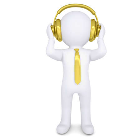 3d white man with the golden headphones  Isolated render on a white background photo
