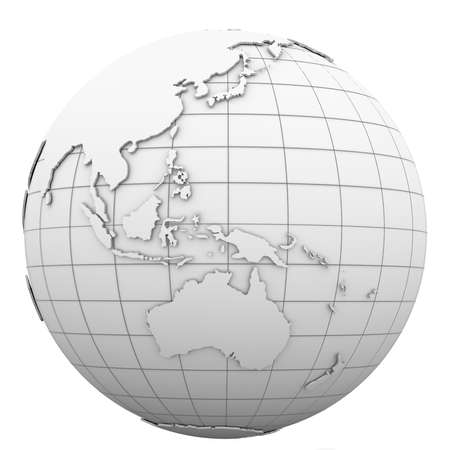 west asia: White globe  Isolated render on a white background Stock Photo