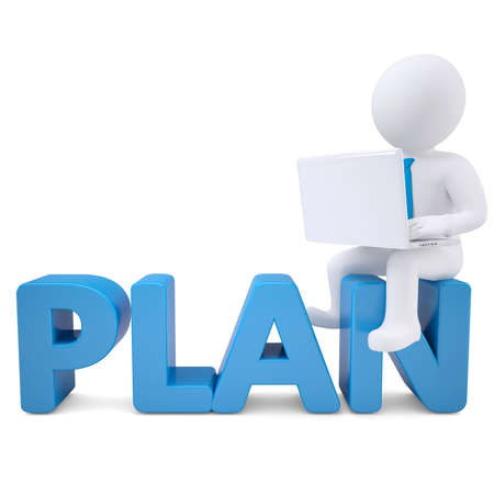 3d white man with laptop sitting on the word PLAN  Isolated render on a white background Stock Photo - 19011818