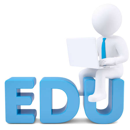 edu: 3d white man with laptop sitting on the word EDU  Isolated render on a white background