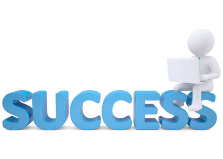 3d white man with laptop sitting on the word SUCCESS  Isolated render on a white background Stock Photo - 19011784