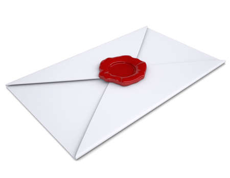 White envelope with a red seal  Isolated render on a white background photo