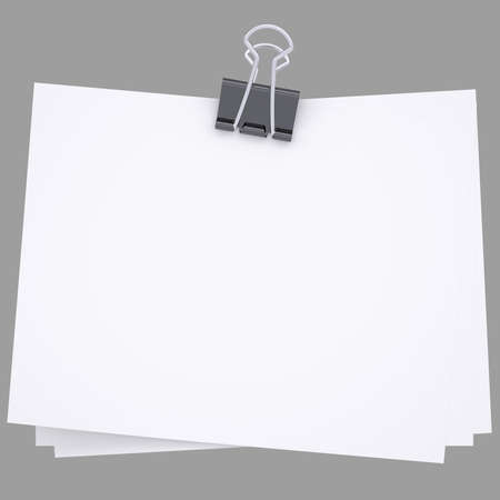 paper  clip: Paper with Binder  Isolated render on a white background