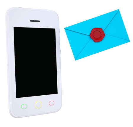 Blue envelope and smartphone  Isolated render on a white background photo