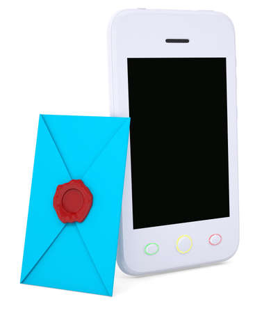 Blue envelope and smartphone  Isolated render on a white background Stock Photo - 19054608