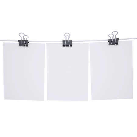 Binder paper with a rope  Isolated render on a white background photo