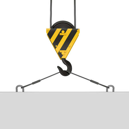 crane parts: Crane hook lifts the white plate  Isolated render on a white background