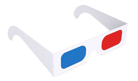 Paper anaglyph glasses  Isolated render on a white background