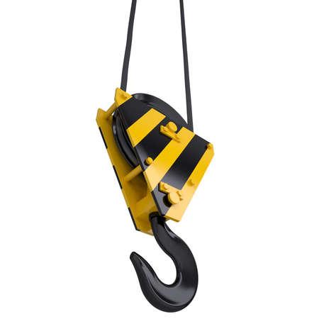 crane parts: Gancho de la gr�a con una cuerda de procesamiento aislado en un fondo blanco Foto de archivo