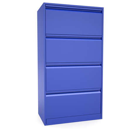 Blue metal cabinet  Isolated render on a white background photo