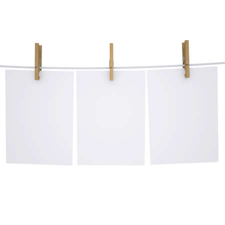 Paper on a rope with clothespins  Isolated render on a white background photo
