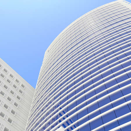 Skyscraper  Render on a blue sky background photo