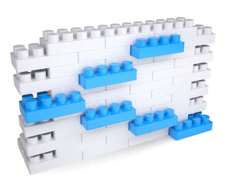 The wall of the children s blocks  Isolated render on a white background Stock Photo - 19126296