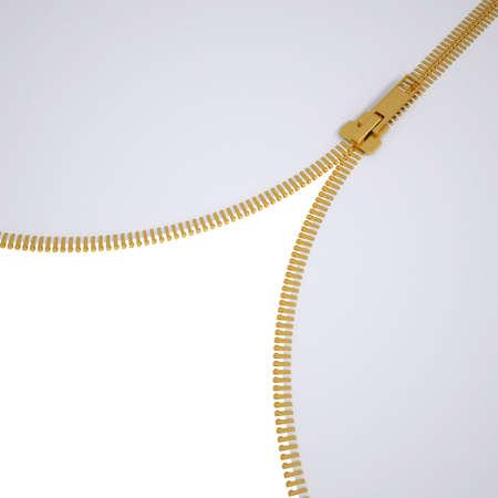 fastening: Open lock zipper  3d render of a gray background