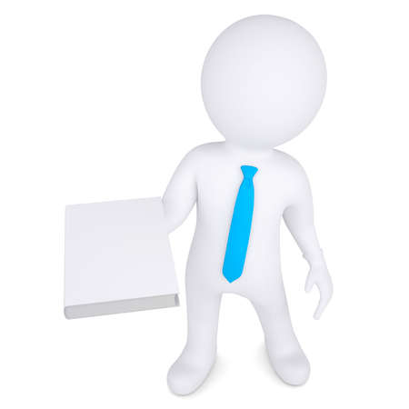 e learnig: 3d man holding a white paper in his hand  Isolated render on a white background