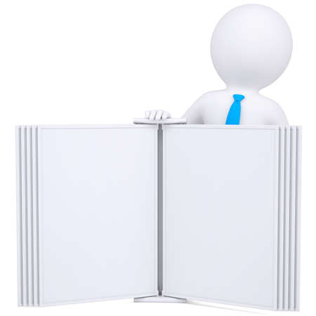 e learnig: 3d man holding an open book  Isolated render on a white background