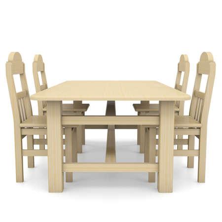 illiteracy: Mesa y sillas de madera aislados hacen en un fondo blanco Foto de archivo