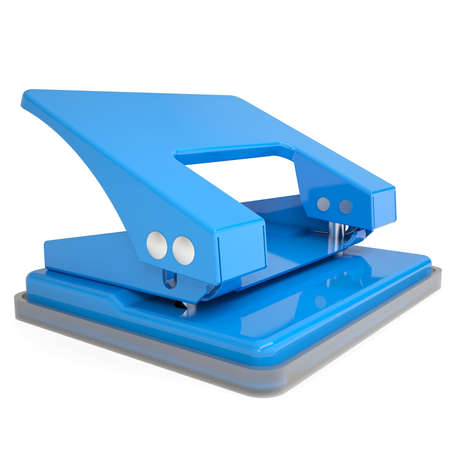 puncher: Blue office hole punch  Isolated render on a white background Stock Photo