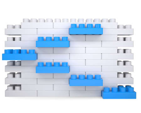 The wall of the children s blocks  Isolated render on a white background photo