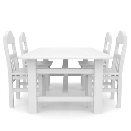 White table and chairs  Isolated render on a white background photo