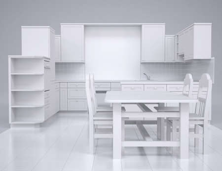 White kitchen  Render in the studio on a gray background photo