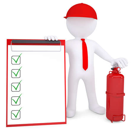 fire extinguisher: 3d man with a fire extinguisher and checklist  3d render isolated on white background Stock Photo
