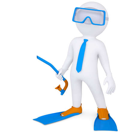 3d man with flippers and mask underwater  3d render isolated on white background photo