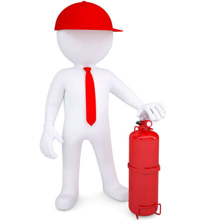 fire extinguisher: 3d man with a fire extinguisher  3d render isolated on white background Stock Photo