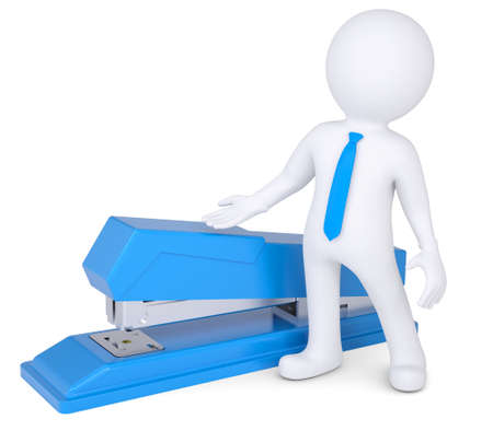 staplers: 3d man with a stapler  Isolated render on a white background