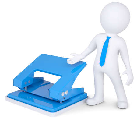 hole puncher: 3d man with an office punch  Isolated render on a white background