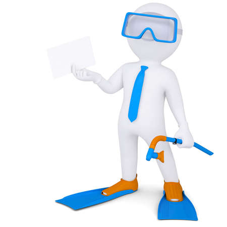 3d white man with flippers holding a white card  Isolated render on a white background photo