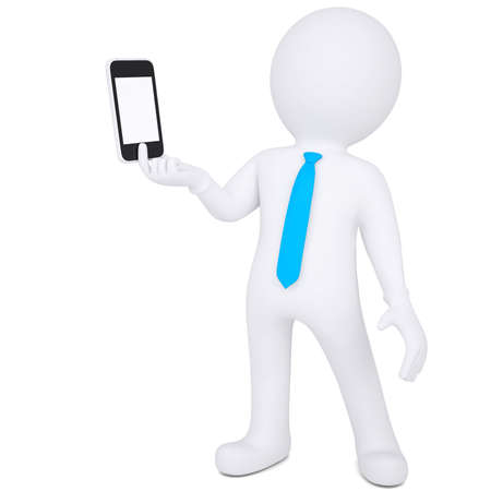 3d white man holding a smartphone  Isolated render on a white background Stock Photo - 19237775
