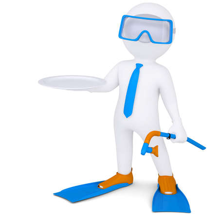 3d white man with flippers holds plate  Isolated render on a white background