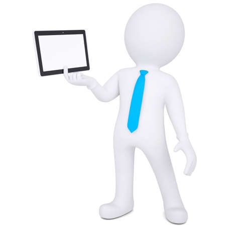 3d white man holding a tablet PC  Isolated render on a white background photo