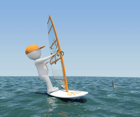 3d white man on a board with a sail floating on the sea  Against the background of blue sky photo