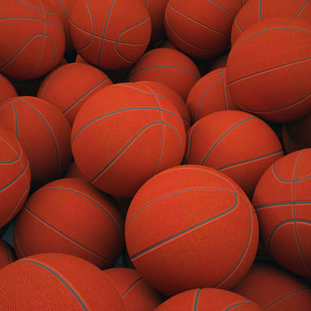 Groups of classical basketballs  3d render of studio Stock Photo - 19278860
