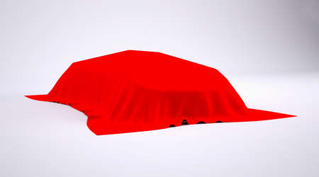 Car covered with red cloth  render studio photo