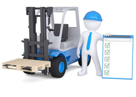 warehouse equipment: 3d man in a hard hat next to the loader  Isolated render on a white background