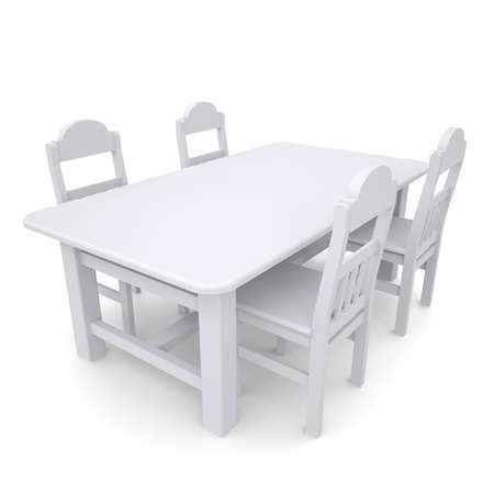 White table and chairs  Isolated render on a white background Stock Photo - 19443535