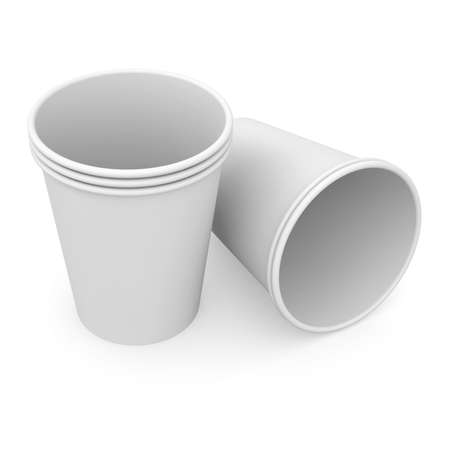 Group of white paper cups  Isolated render on a white background photo