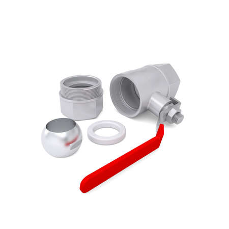 Details of ball valve  Isolated render on a white background photo