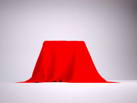 cloth fiber: Box covered with red cloth  render studio