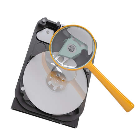 glasse: Hard disk under a magnifying glass  Isolated render on a white background