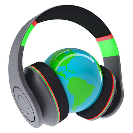 Music of the world  Headphones on the planet  Isolated render on a white background photo