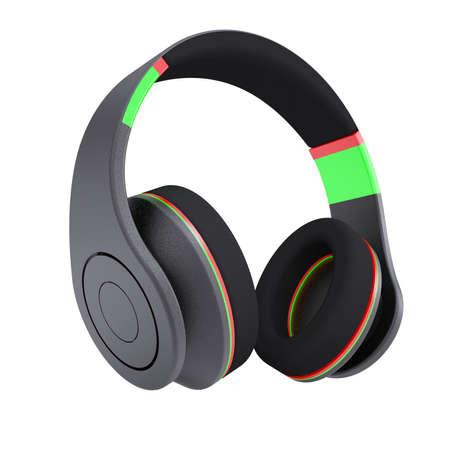 dee jay: Stylish black headphones  Isolated render on a white background