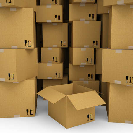 Cardboard boxes  Isolated render on a white background Stock Photo - 19443624