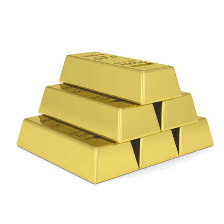 Gold bars  Isolated render on a white background photo