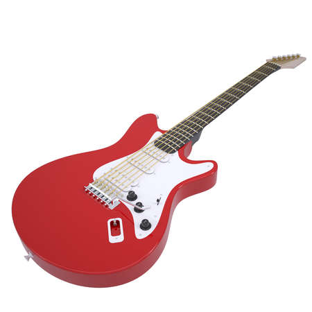 amplified: Red electric guitar  Isolated render on a white background Stock Photo