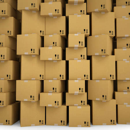 The wall of cardboard boxes  Isolated render on a white background photo